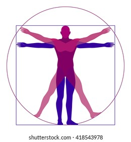 Vitruvian man, modern styling, different position of a man, vector illustration