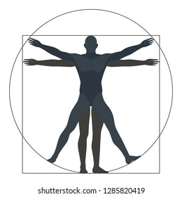Vitruvian man, silhouette. the modern form, vector illustration