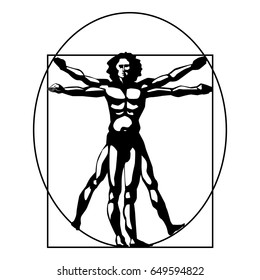 Vitruvian man silhouette stylized symbol on a white background. Vector illustration.