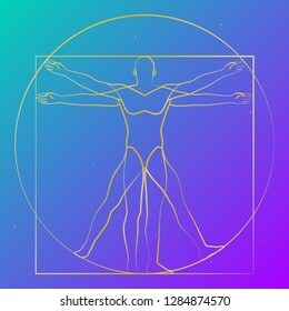 Vitruvian man starry sky, modern shape, vector illustration