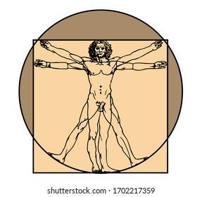 vitruvian man vector illustration symbol