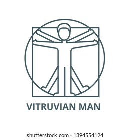 Vitruvian man  vector line icon, linear concept, outline sign, symbol