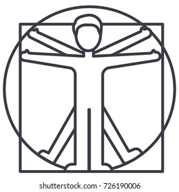 vitruvian man  vector line icon, sign, illustration on background, editable strokes