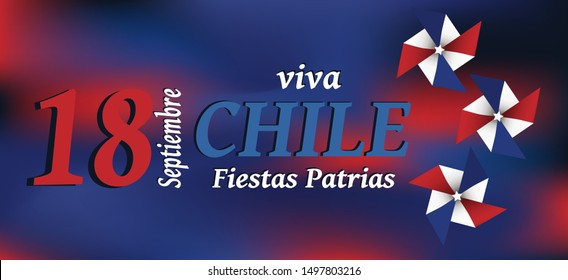 Viva Chille Fiestas Patrias banner vector. 18 September celebration of Independence day.