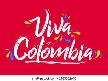 Viva Colombia, en vivo Colombia texto español Pabellón de colores de bandera colombiana patriótico vectorial.