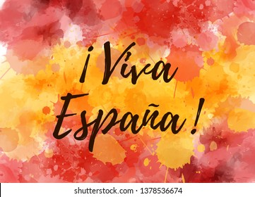 Viva Espana. Watercolor splashes background in Spain flag colors. Template background for Spain national holidays.