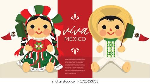 Viva México (Long Live Mexico in Spanish) Mexican Traditional RagDolls From Michoacán, Querétaro and México City; México – Vector Illustration – Copy Space