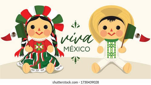 Viva México (Long Live Mexico in Spanish) Mexican Traditional RagDolls From Michoacán, Querétaro and México City; México – Vector Illustration