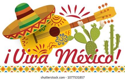 Viva Mexico card design. Mexican Festive Card. Mexican National Holiday. Design for Mexican holiday 5 may Cinco De Mayo. Vector template with traditional Mexican symbols