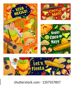 Viva Mexico and Cinco de Mayo holiday vector greeting banners. Mexican fiesta party guitar, sombrero and cactus, maracas, tequila margarita and chilli, tacos, nachos and avocado, lime and jalapeno