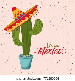 viva mexico colorful poster of cactus plant with mexican hat