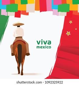 Viva Mexico Design Man Riding Horse
