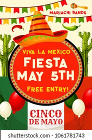 Viva Mexico fiesta party invitation banner for Cinco de Mayo holiday celebration. Mexican festival sombrero with maracas, chili and jalapeno pepper, cactus and Mexico flag poster, decorated by bunting