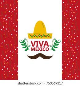 viva mexico hat and mustache confetti decoration vector illustration