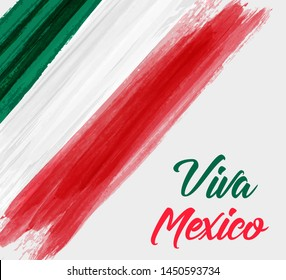 Viva Mexico holiday background with waterccolored grunge design in flag colors. Independence day concept background.