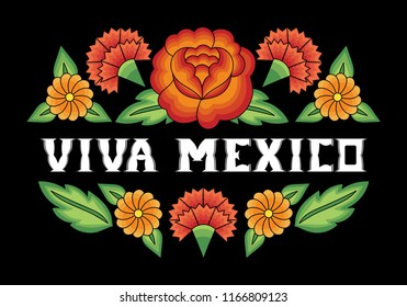 Viva Mexico, illustration typography vector. Traditional flower embroidery ornament pattern frame. Background design for fiesta banner, mexican party invitation, travel poster, independence day card.