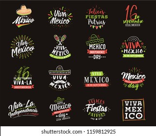 Viva Mexico. Mexico independence day. 16 september. Vector typography set.