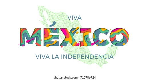 Viva Mexico lettering for Mexico Independence day in red and green national flag color and Mexican map. Vector modern paper cut multi layers effect text for celebration design.