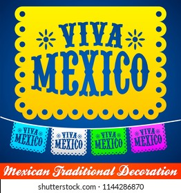 Viva Mexico, mexican holiday vector decoration
