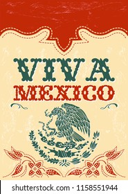 Viva Mexico mexican holiday vector poster, vintage western style illustration.