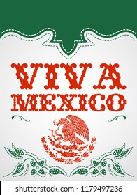 Viva Mexico mexican holiday vector poster, colorful western style illustration.