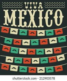 Viva Mexico - mexican mustache holiday vector decoration