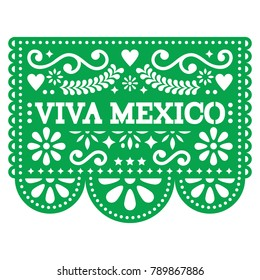 Viva Mexico papel picado vector design - Mexican paper decoration with pattern and text.