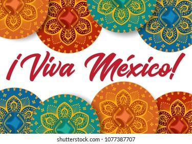 Viva Mexico poster. Mexican sombrero
