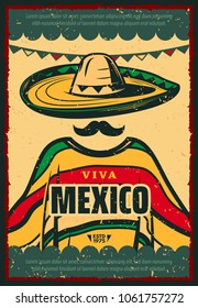 Viva Mexico retro poster for Cinco de Mayo holiday celebration. Mexican fiesta party sombrero hat, mustache and poncho festive banner, decorated with bunting in colors of mexican flag