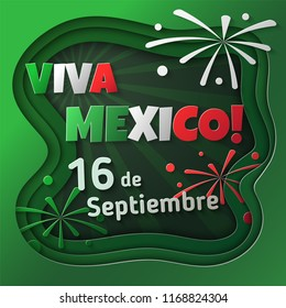 Viva Mexico! September 16. Mexican Independence Day. Greeting card design concept in a paper art style.