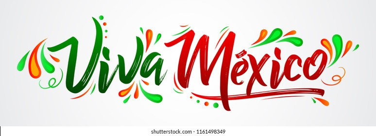Viva Mexico, traditional mexican phrase holiday, lettering vector illustration