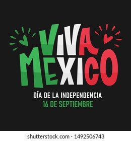 Viva Mexico. Traditional mexican phrase holiday, lettering vector illustration.