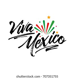 Viva Mexico, traditional mexican phrase holiday, lettering vector illustration with colorful star