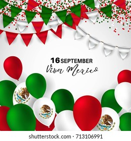 Viva Mexico, traditional mexican phrase holiday with balloons in national flag colors. vector illustration