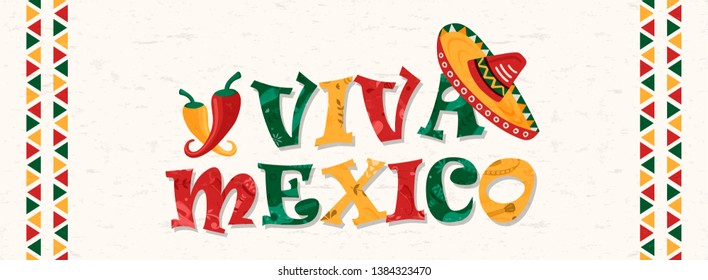 Viva mexico typography quote with traditional mexican mariachi hat and chili peppers. Web banner illustration for country celebration, culture event or holiday.