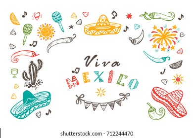 Viva Mexico Vector Greeting Card with Hand drawn doodle Sombrero, Cactus, Maracas, Sun, Pepper Chili, Nachos, Firework, Bunting Flags. Mexican holiday