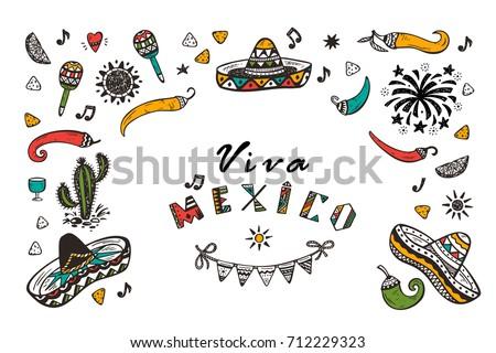 Viva mexico vector greeting card hand stock vector royalty free viva mexico vector greeting card with hand drawn doodle sombrero cactus maracas sun m4hsunfo