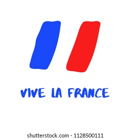 """""""Vive la France"""" French Text, Banner, Abstract France Flag"""