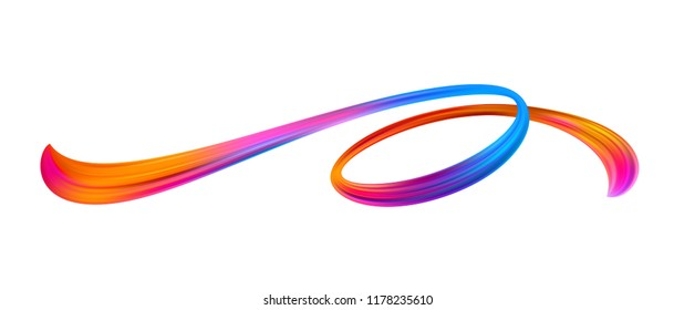 Vivid acrylic brushstroke. Abstract oil paint stream. Twisted paint smear. Christmas and New Year ribbon texture. Rainbow brush stroke. Banner, poster, postcard design element. Isolated vector
