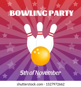 Vivid bowling party poster with white pins and yellow ball. Invitation banner with sample text on the gradient purple background with stars and rays of light. Vector square illustration