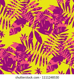 Vivid bright jungle foliage seamless pattern. Geometric sophisticated leaves endless repeatable motif for surface design. Abstract modern summer seamless pattern for wrapping paper, fabric.