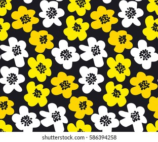 vivid color summer floral vector illustration in retro 60s style. abstract hand drawn flowers seamless pattern for fabric, wrapping paper.