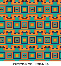 vivid colorful ethnic African geometric modern repeating pattern tile with bold colors for textile, fabric, backgrounds, wallpapers, covers and surface design projects. the tile is seamless