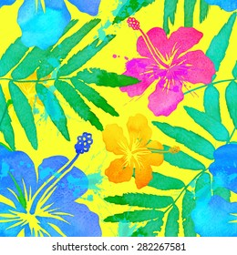 Vivid colors bright tropical flowers vector seamless pattern