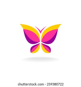 Vivid colors butterfly logo. Smooth shape. Plain flat style colors.