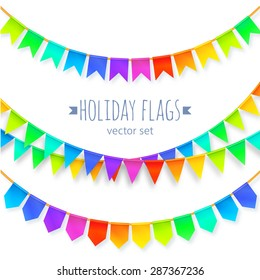 Vivid colors rainbow flags garlands vector set isolated on white background