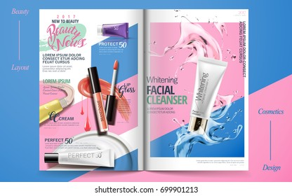 Vivid cosmetic brochure design, skincare and makeup products on geometric background magazine, colorful design in 3d illustration
