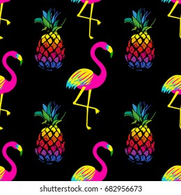 Vivid exotic seamless pattern with bright flamingo birds and pineapples in vector