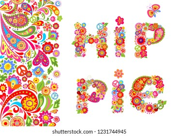 Vivid floral seamless border and hippie flowers lettering for t shirt print and other fashion design on black background