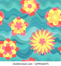 Vivid flowers on blue waves. Floral seamless pattern.
